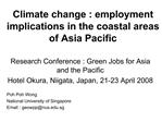Climate change : employment implications in the coastal areas of Asia Pacific