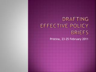 Drafting Effective Policy Briefs
