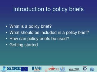 Introduction to policy briefs