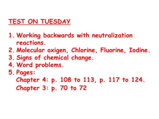 TEST ON TUESDAY Working backwards with neutralization reactions .