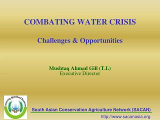 COMBATING WATER CRISIS  Challenges  Opportunities