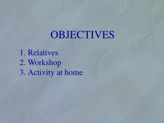 OBJECTIVES Relatives Workshop Activity  at home