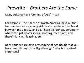 Prewrite –  Brothers Are the Same