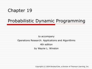 Chapter 19  Probabilistic Dynamic Programming