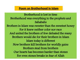 Poem on Brotherhood in Islam