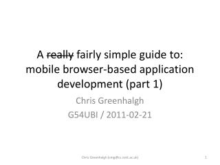 A  really  fairly simple guide to: mobile browser-based application development (part 1)