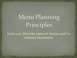 Menu Planning Principles