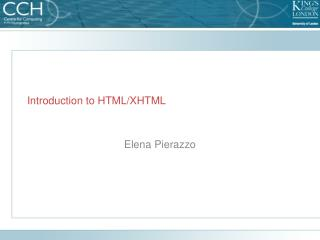 Introduction to HTML/XHTML