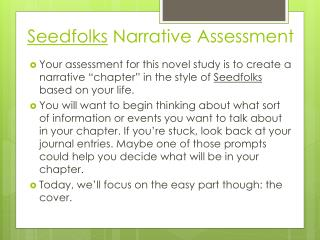 Seedfolks  Narrative Assessment