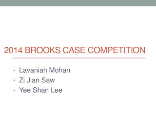 2014 Brooks case competition