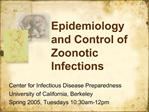 Epidemiology and Control of Zoonotic Infections