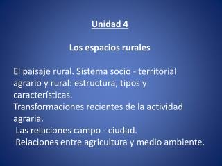 Unidad 4 Los espacios rurales