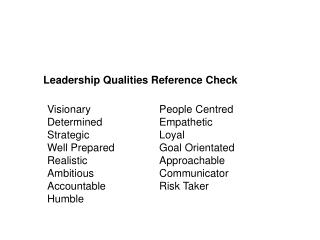 Leadership Qualities Reference Check