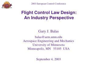 Flight Control Law Design:
