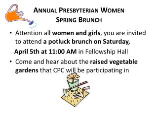 Annual Presbyterian Women  Spring Brunch