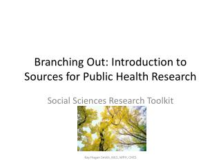 Branching Out: Introduction to Sources for Public Health Research