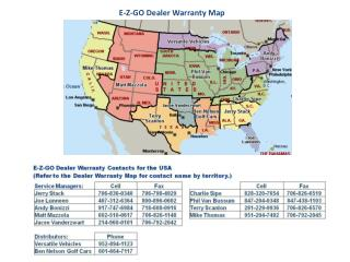 E-Z-GO Dealer Warranty Map