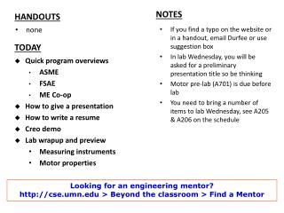 If you find a typo on the website or in a handout, email Durfee or use suggestion box