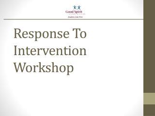 Response To Intervention Workshop