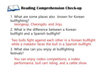Reading Comprehension Check-up