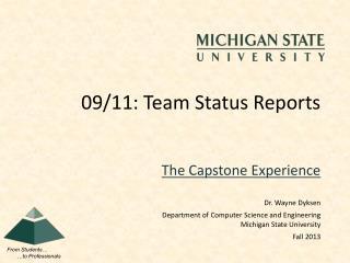 09/11: Team Status Reports