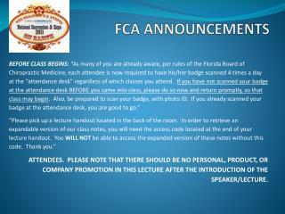 FCA ANNOUNCEMENTS