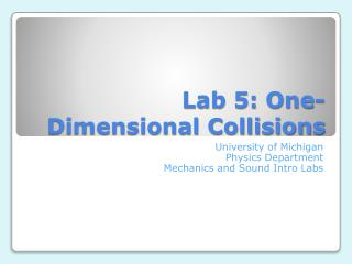 Lab 5: One-Dimensional Collisions