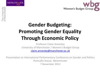 Gender Budgeting: Promoting  Gender  E quality Through Economic Policy
