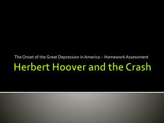 Herbert Hoover and the Crash
