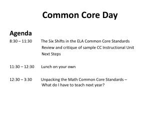 Common Core Day