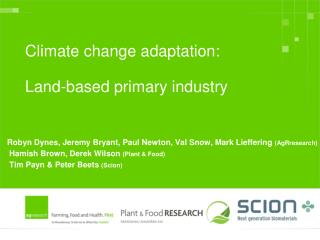 Climate change adaptation:  Land-based primary industry