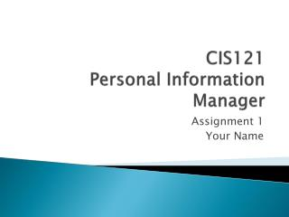 CIS121 Personal Information Manager