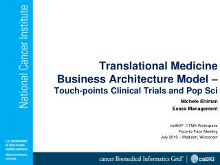 Translational Medicine  Business Architecture Model �  Touch-points  Clinical Trials and Pop Sci