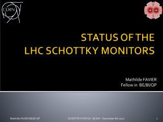 STATUS OF THE  LHC SCHOTTKY MONITORS