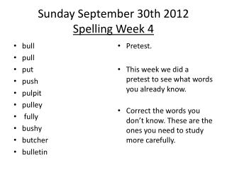 Sunday September  30th  2012 Spelling Week  4