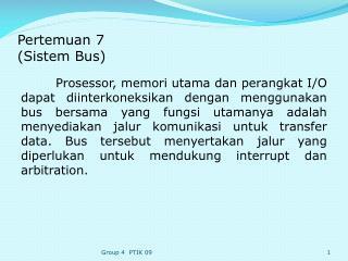 Pertemuan  7 ( Sistem  Bus)