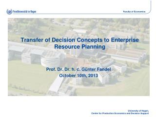 Transfer  of Decision Concepts to  Enterprise  Resource Planning