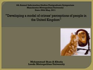 """"""" Developing a model of crimes' perceptions of people in the United Kingdom"""""""