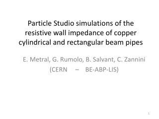 E.  Metral , G.  Rumolo , B. Salvant, C. Zannini (CERN     –    BE-ABP-LIS)