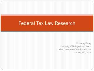 Federal Tax Law Research
