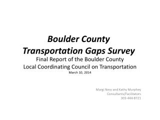 Boulder County  Transportation Gaps Survey