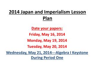 2014 Japan and Imperialism Lesson Plan