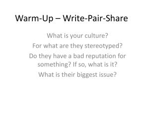 Warm-Up – Write-Pair-Share