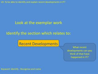 Look at the exemplar work Identify the section which relates to: Recent Developments
