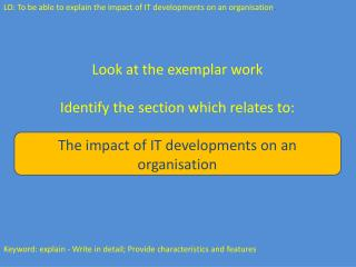Look at the exemplar work Identify the section which relates to: