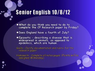 Senior English 10/8/12