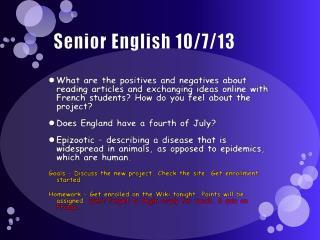 Senior English 10/7/13