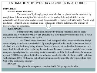 ESTIMATION OF HYDROXYL GROUPS IN ALCOHOL