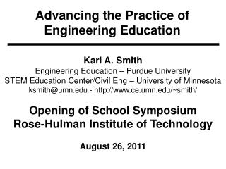 Advancing the Practice of Engineering Education