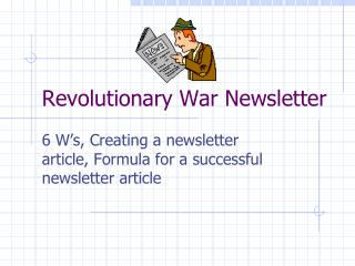 Revolutionary War  Newsletter